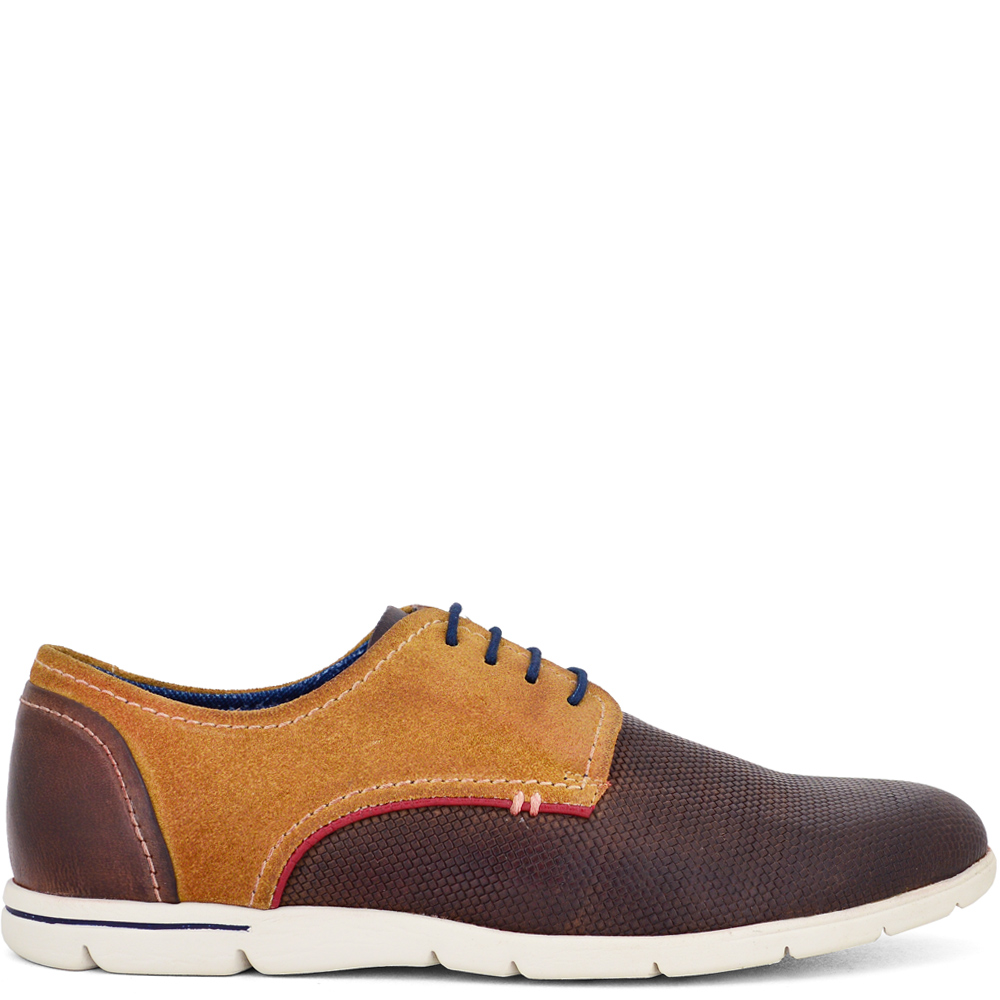 REA-16201 ΤΑΜΠΑ-ΚΑΜΕΛ OXFORD SNEAKER ΑΠΟ ΓΝΗΣΙΟ ΔΕΡΜA