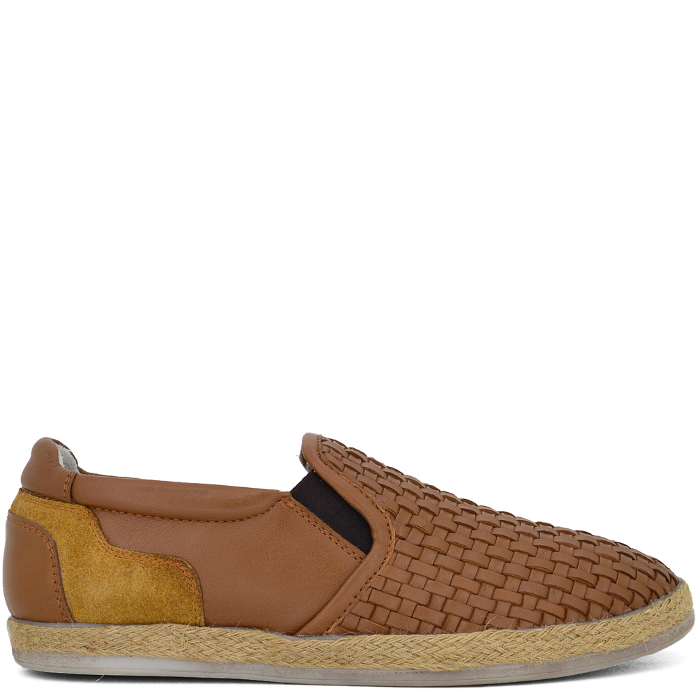 REA-16205 ΤΑΜΠΑ-ΚΑΜΕΛ SLIP ON CASUAL ΑΠΟ ΓΝΗΣΙΟ ΔΕΡΜA